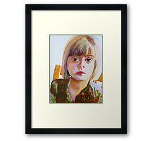 Portrait of a young girl, acrylic on yupo paper Framed Print