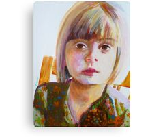 Portrait of a young girl, acrylic on yupo paper Canvas Print