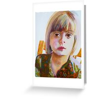 Portrait of a young girl, acrylic on yupo paper Greeting Card