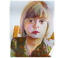 Portrait of a young girl, acrylic on yupo paper Poster