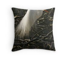 Egret in Breeding Plumage Throw Pillow