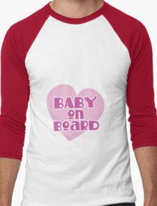 BABY on BOARD with a cute love heart Men's Baseball ¾ T-Shirt