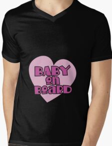 BABY on BOARD with a cute love heart Mens V-Neck T-Shirt