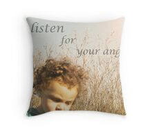 listen for the whispers of your own angel..  Throw Pillow