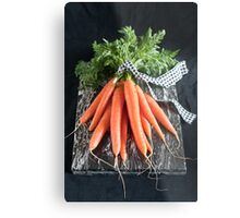 Carrots on Black Metal Print