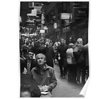 Man looking Up in Centre Lane. Poster