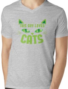 This guy loves CATS with cute cat whiskers Mens V-Neck T-Shirt