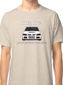 'Ringlands? We Dont Have Those Problems Here' Mitsubishi Evo Gag Design Sticker / Tee Classic T-Shirt