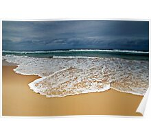 Stormy Skies, Golden Sands and Foaming Waves Poster
