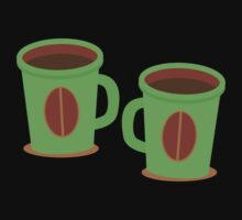 Two green mugs cups with coffee beans Kids Clothes