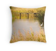 A Royal Spoonbill wades in the Greenfields Wetlands Throw Pillow
