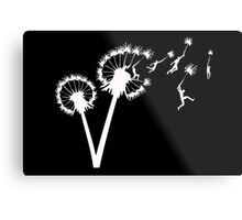 Dandylion Flight - white silhouette Metal Print