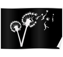 Dandylion Flight - white silhouette Poster