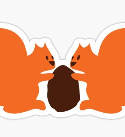 2 cute Squirrels sharing a nut Sticker