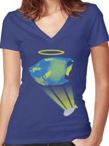Angelfish Women's Fitted V-Neck T-Shirt