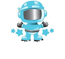 Little cute Space man in a Blue space suit Photographic Print