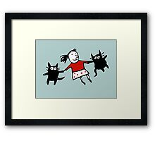 Happy Jumping Cats Framed Print