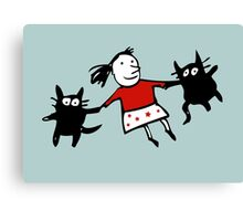 Happy Jumping Cats Canvas Print