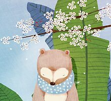 White Socks Series: Bear Under Sakura Blossom by jjsgarden