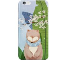 White Socks Series: Bear Under Sakura Blossom iPhone Case/Skin