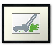 Lawn mower with cut grass Framed Print