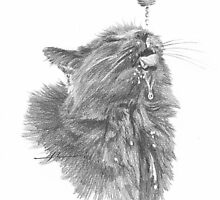 cat sipping water from hose drawing by Mike Theuer