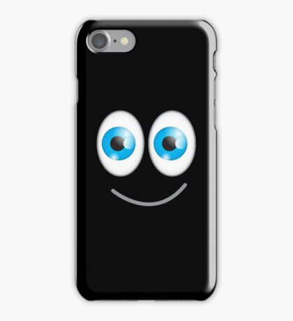 Funny cute wacky BLUE eyes looking with a smile iPhone Case/Skin