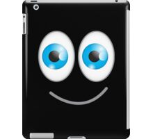 Funny cute wacky BLUE eyes looking with a smile iPad Case/Skin
