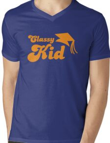 Classy kid with Education mortar board graduate Mens V-Neck T-Shirt