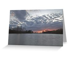 Sunset over Woodland Waters, Ancaster. Greeting Card