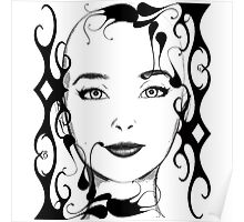 Black and white ornamental face Poster
