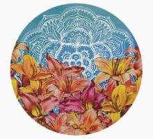 Orange Lilies & White Mandala on Blue Kids Clothes