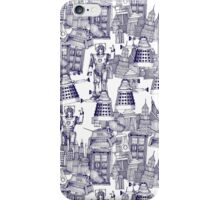 walking doodle toile de jouy blue iPhone Case/Skin