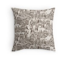 walking doodle toile de jouy sepia Throw Pillow