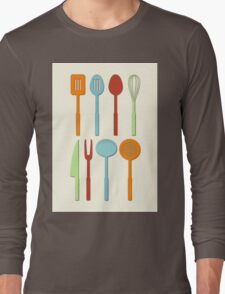 Kitchen Utensil Colored Silhouettes on Cream Long Sleeve T-Shirt