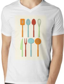 Kitchen Utensil Colored Silhouettes on Cream Mens V-Neck T-Shirt