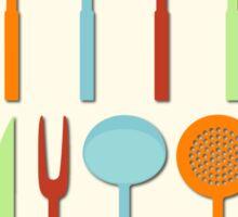 Kitchen Utensil Colored Silhouettes on Cream Sticker
