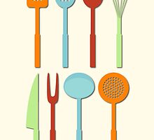 Kitchen Utensil Colored Silhouettes on Cream by NataliePaskell