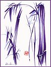 """""""Lilac Bamboo Forest"""" Original ink and wash chinese brush painting by Rebecca Rees"""