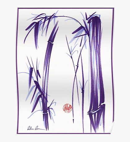 """Lilac Bamboo Forest"" Original ink and wash chinese brush painting Poster"