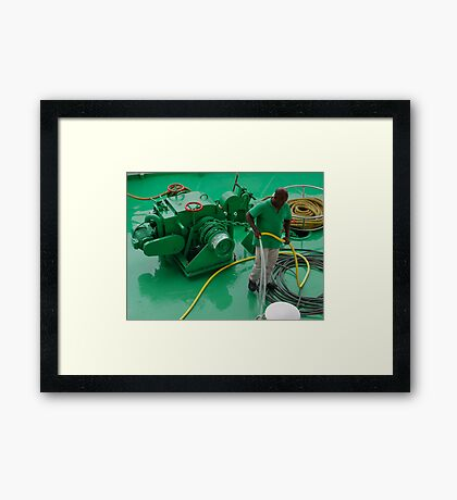 Cleaning the deck Framed Print
