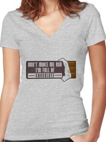 Don't Make Me Run, I'm Full Of Chocolate Women's Fitted V-Neck T-Shirt