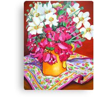 Yellow Jug with Bougainvillia Canvas Print