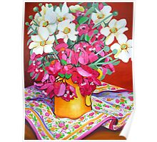 Yellow Jug with Bougainvillia Poster
