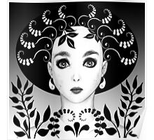 Black and white floral art deco face Poster