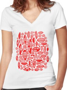 Abstract 100813 - Red Women's Fitted V-Neck T-Shirt