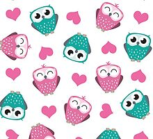 Owls & Hearts (white) by Lisa Marie Robinson