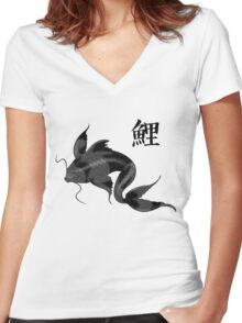 Black Koi with Konji Women's Fitted V-Neck T-Shirt