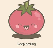 Keep Smiling Kawaii Tomato by Lisa Marie Robinson