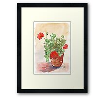 My Geranium would like to see you... Framed Print